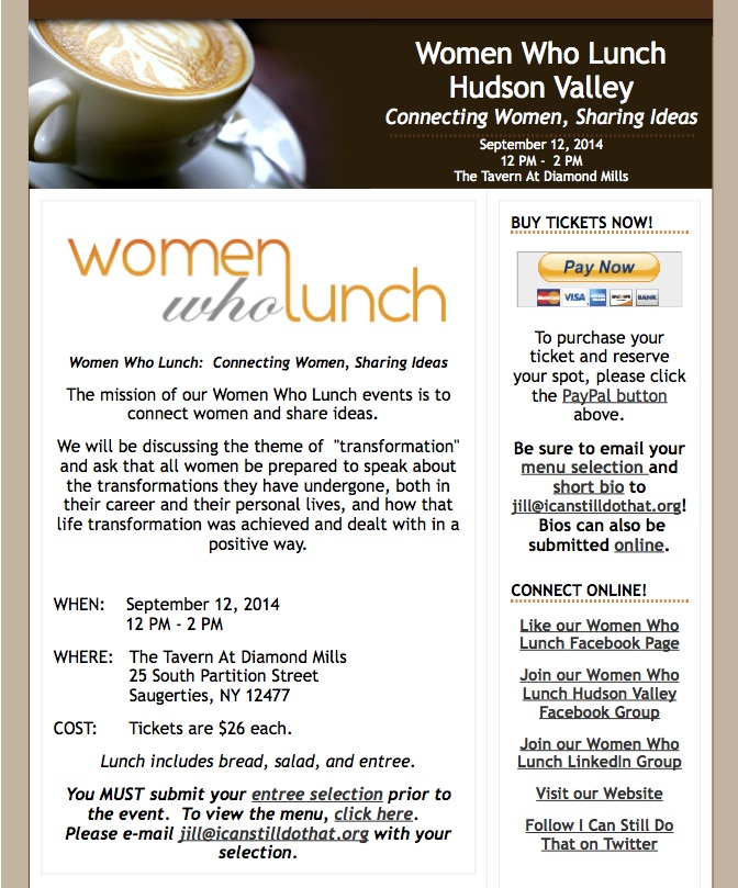 Announcing our first Women Who Lunch Hudson Valley  September 12 2014