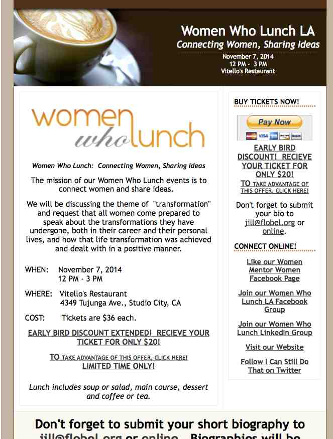 EARLY BIRD SPECIAL Women Who Lunch LA  November 7 2014