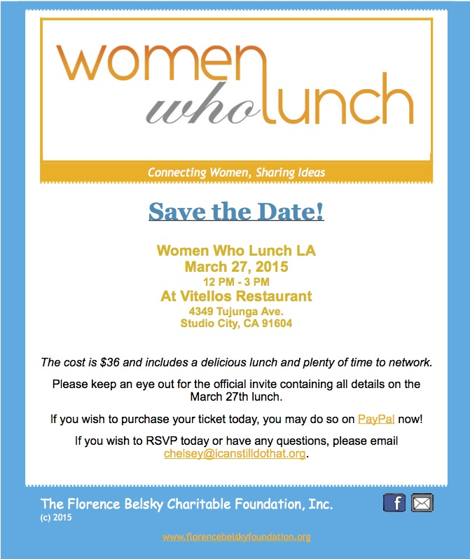 Test Message  Save the Date Women Who Lunch LA  November 7 2014
