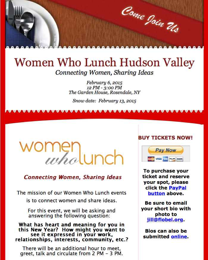 Women Who Lunch Hudson Valley  February 6 2015