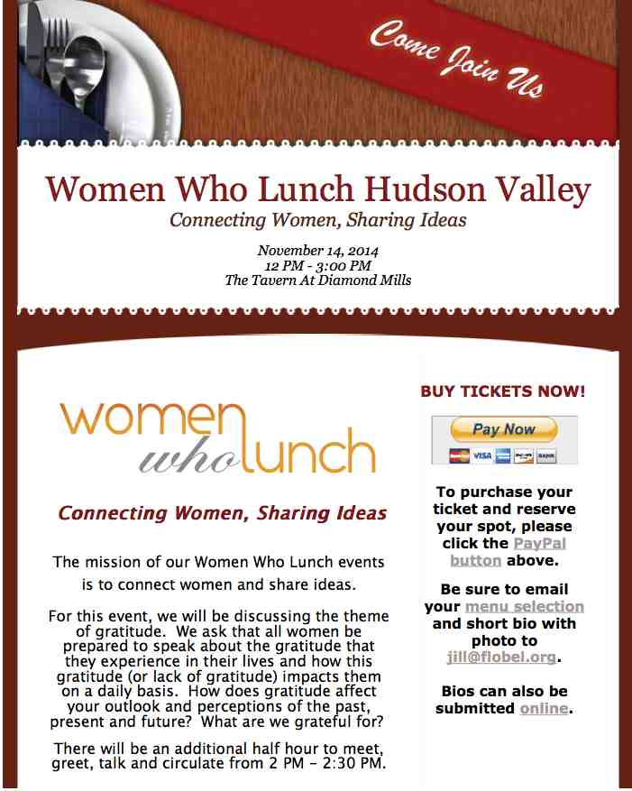 Women Who Lunch Hudson Valley  November 14 20141